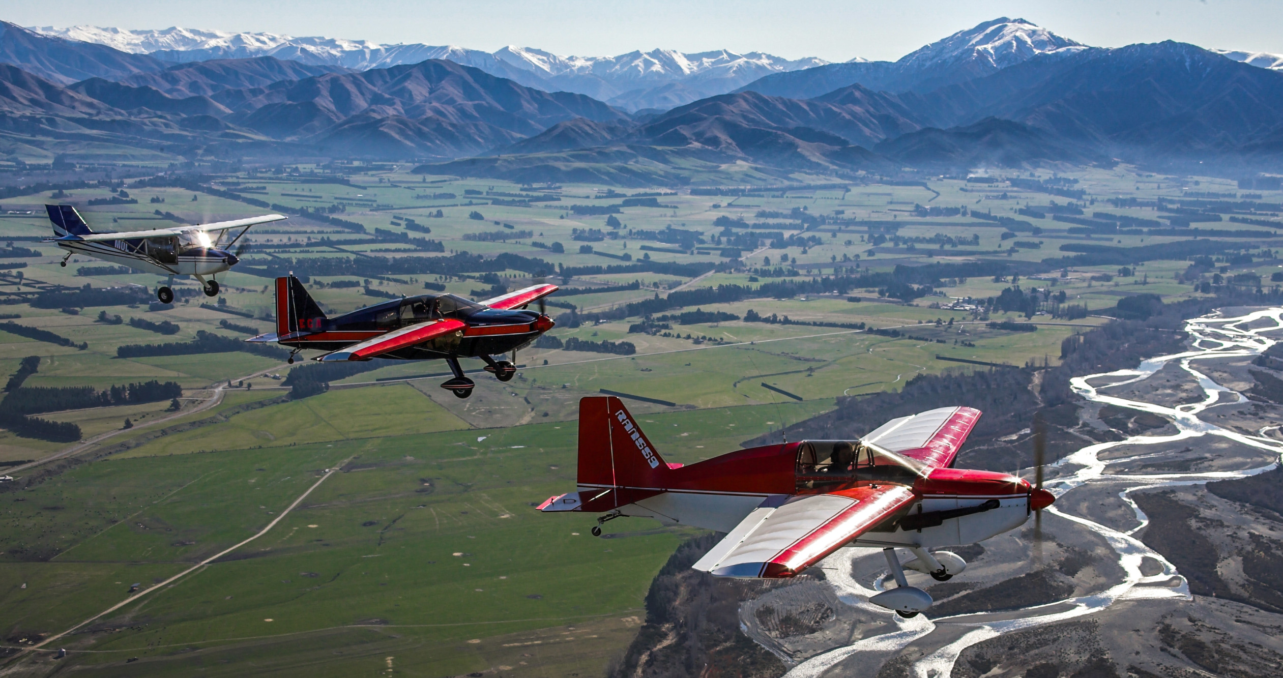 Formation of Local RANS Aircraft over the Rangitata River